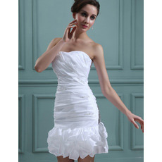 Inexpensive Sexy Sheath Ruched Sweetheart Short Beach Wedding Dresses