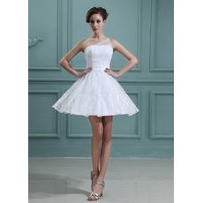 Affordable Custom One Shoulder Lace A-Line Short Beach Wedding Dresses