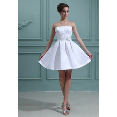 Discount Casual A-Line Strapless Satin Short Beach Wedding Dresses