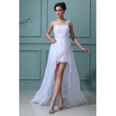 Inexpensive Custom One Shoulder High-Low Organza Wedding Dresses
