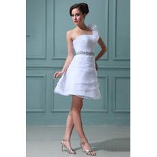 Custom One Shoulder A-Line Short Beach Wedding Dresses for Summer