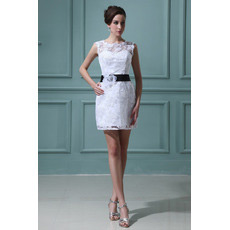 Inexpensive Casual Column Lace Short Beach Wedding Dresses with Belts