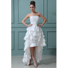 Casual High-Low Ruffle Strapless Satin Wedding Dresses for Summer
