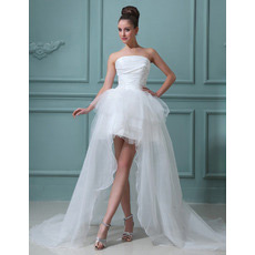 Custom High-Low Asymmetric Strapless Organza Wedding Dresses for Summer