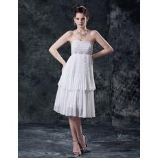 Custom Empire Chiffon Pleated Short Beach Wedding Dresses for Summer