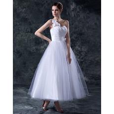 Affordable Elegant One Shoulder Tea Length A-Line Wedding Dresses