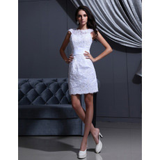 Affordable Custom Column/ Sheath Applique Short Beach Wedding Dresses