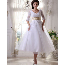 Discount Custom V-Neck Short Reception Wedding Dresses with Sleeves