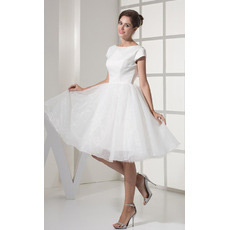 Casual Cap Sleeves A-Line Short Reception Wedding Dresses for Summer