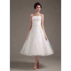 Casual A-Line Strapless Tea Length Short Reception Wedding Dresses