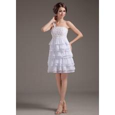 Custom One Shoulder Chiffon Short Beach Wedding Dresses for Summer