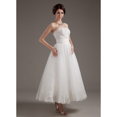 Discount Summer Strapless Tea Length Reception Wedding Dresses