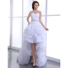 Inexpensive Sexy High-Low Asymmetric Sweetheart Organza Wedding Dresses