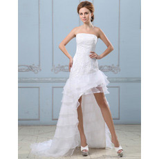 Discount Strapless High-Low Asymmetric Layered Petite Wedding Dresses