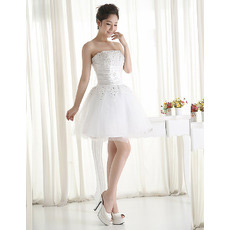 Affordable Informal Sexy A-Line Strapless Short Beach Wedding Dresses