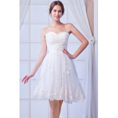 Affordable Elegant Sweetheart Organza Short Beach Wedding Dresses