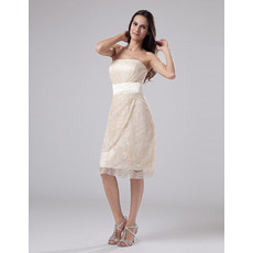 Custom Lace Strapless Sheath Short Beach Wedding Dresses for Summer