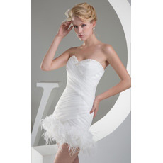 Discount Sexy Sheath Sweetheart Ruched Short Beach Wedding Dresses