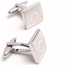 Elegant Square Lasering Pictures Tuxedo Shirt Cufflinks for Wedding