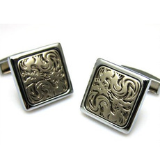 Elegant Square Carved Cufflinks for Party/ Wedding/ Business