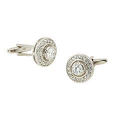 Elegant Round Swarovski Mens' Cufflinks for Party/ Wedding/ Business