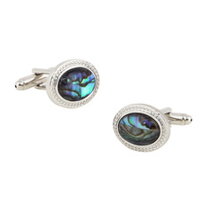 Elegant Oval Conch Mens' Cufflinks for Party/ Wedding/ Business