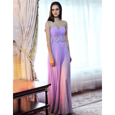 Designer Sexy Pleated Chiffon Sweetheart Floor Length Evening Dresses