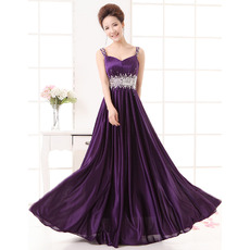 Affordable Custom Satin Straps Sleeveless Floor Length Evening Dresses