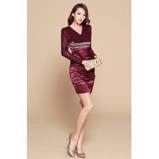 Sheath/ Column V-Neck Short Homecoming Dresses with Long Sleeves