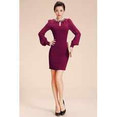 Sheath/ Column Short Chiffon Homecoming Dresses with Long Sleeves