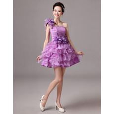 Discount Cute A-Line One Shoulder Short Homecoming/ Party Dresses