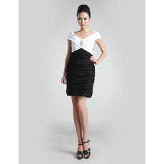 Discount Column V-Neck Ruched Satin Short Homecoming/ Party Dresses