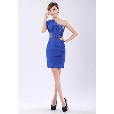 Affordable One Shoulder Column Short Satin Homecoming/ Party Dresses