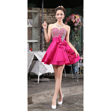A-Line Sweetheart Short Satin Beaded Homecoming/ Party Dresses
