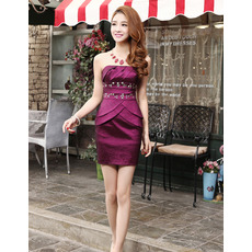 Inexpensive Sexy Column Strapless Short Satin Homecoming Dresses