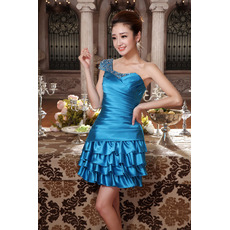 Inexpensive Sexy One Shoulder Short Satin Homecoming/ Party Dresses