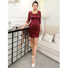 Inexpensive Sexy Sheath Short Homecoming/ Party Dresses with Sleeves