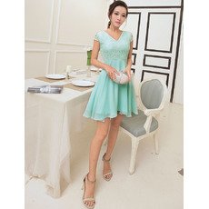Affordable Elegant V-Neck Short Chiffon Homecoming/ Party Dresses