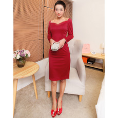 Discount Sexy Sheath Short Homecoming Dresses with Long Sleeves