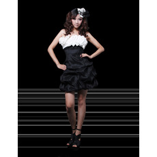 Affordable Column Strapless Short Satin Homecoming/ Party Dresses