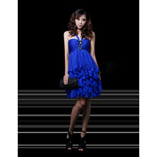 Discount Sexy Empire V-Neck Short Tiered Homecoming/ Party Dresses