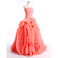 Custom Stylish Ruched Skirt Organza Strapless Prom/ Party Dresses