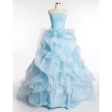 Elegant Ruffle Strapless A-Line Floor Length Prom/ Party Dresses