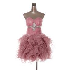 Discount Cute Ball Gown Sweetheart Short Ruffle Homecoming Dresses