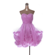 Inexpensive Cute A-Line Sweetheart Short Organza Homecoming Dresses