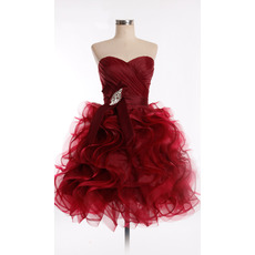 Discount Chic Sweetheart Short Organza Ruffle Homecoming Dresses