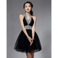 Affordable Sexy A-Line Halter Short Black Homecoming/ Party Dresses