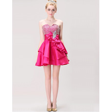 Affordable Cute Sweetheart Short Satin Homecoming/ Party Dresses