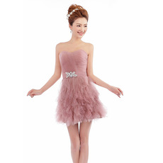 Discount Sexy Strapless Short Organza Homecoming/ Party Dresses