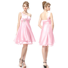 Inexpensive Stylish One Shoulder Short Satin Homecoming/ Party Dresses